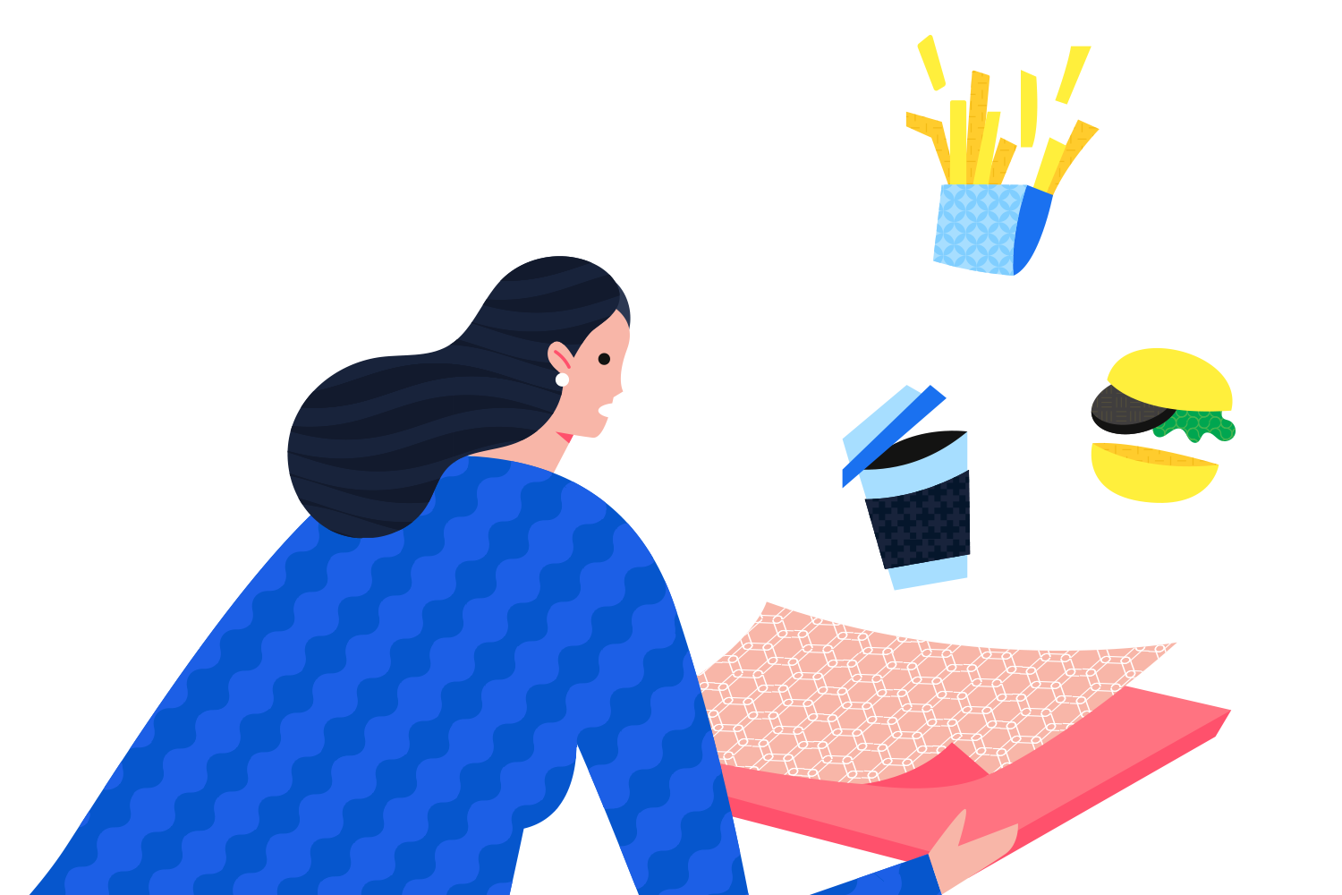 Flat illustration demonstrating ability to replace solid colors with patterns